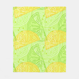 Bright lime green citrus lemons pattern fleece blanket