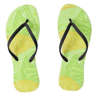 Bright lime green citrus lemons pattern flip flops