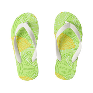 Bright lime green citrus lemons pattern kid's flip flops