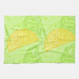 Bright lime green citrus lemons pattern kitchen towel