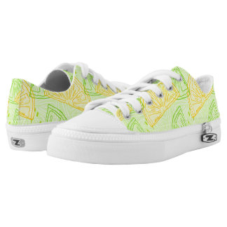Bright lime green citrus lemons pattern Low-Top sneakers