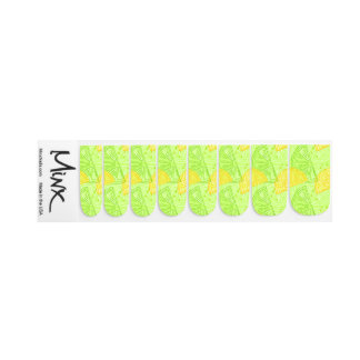 Bright lime green citrus lemons pattern minx nail art