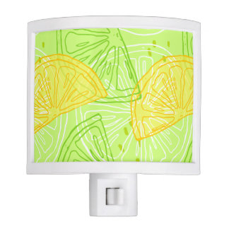 Bright lime green citrus lemons pattern night light