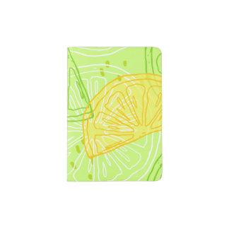 Bright lime green citrus lemons pattern passport holder