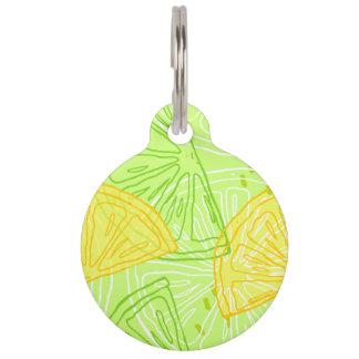 Bright lime green citrus lemons pattern pet tag