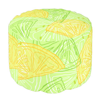 Bright lime green citrus lemons pattern pouf
