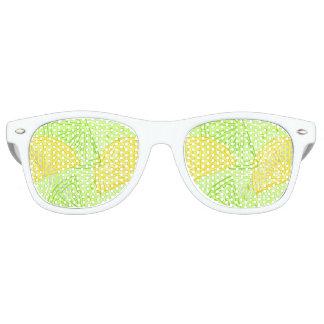 Bright lime green citrus lemons pattern retro sunglasses