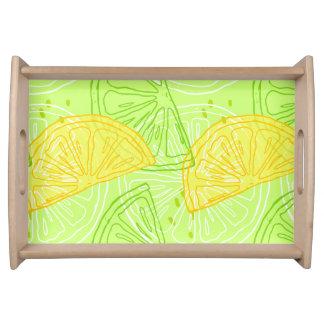 Bright lime green citrus lemons pattern serving tray