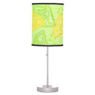 Bright lime green citrus lemons pattern table lamp