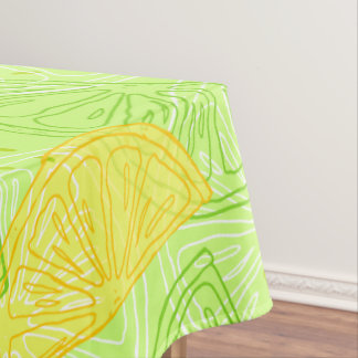 Bright lime green citrus lemons pattern tablecloth
