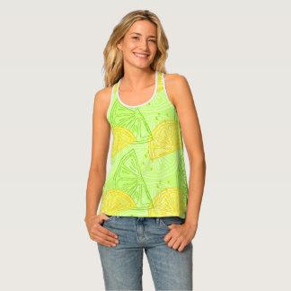 Bright lime green citrus lemons pattern tank top