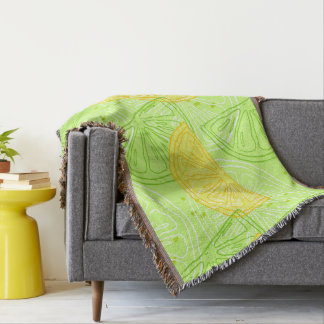 Bright lime green citrus lemons pattern throw blanket