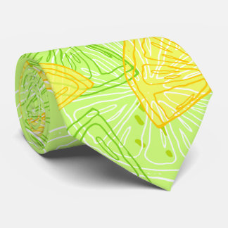 Bright lime green citrus lemons pattern tie