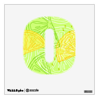 Bright lime green citrus lemons pattern wall sticker