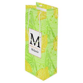Bright lime green citrus lemons pattern wine gift bag