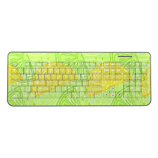 Bright lime green citrus lemons pattern wireless keyboard