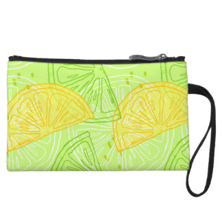 Bright lime green citrus lemons pattern wristlet