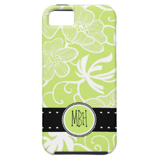 Bright Lime Green  Floral Pattern Personalized iPhone 5 Case