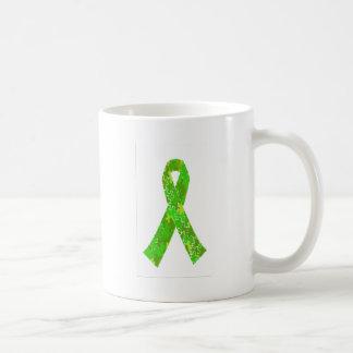 Bright Lime Green Jigsaw Puzzle Pattern Ribbon Classic White Coffee Mug