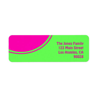 Bright lime green pink mod circle return address label