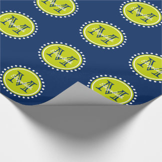 Bright Lime Green Polka Dot Monogram on Navy Blue Wrapping Paper