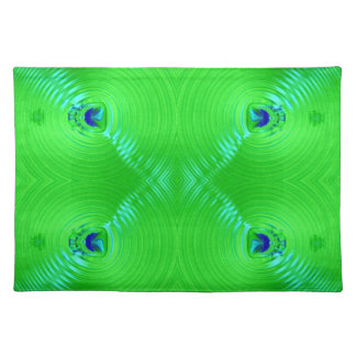 bright lime green turquoise fractal design placemat