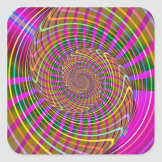 Bright Luminance Cool Geometric Fractal Pattern Square Sticker