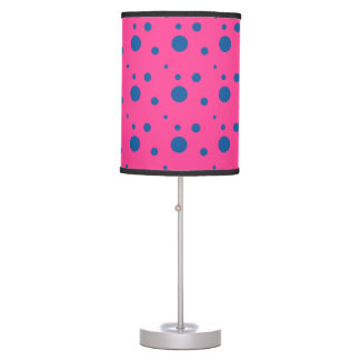 Bright Magenta and Blue Polka Dot Lamp