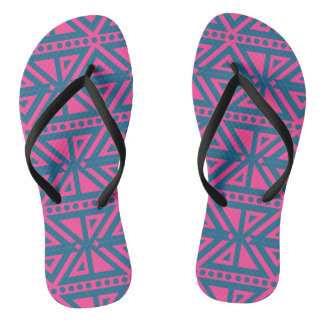 Bright Magenta  and Blue Tribal Pattern Flip Flops
