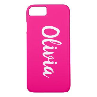Bright Magenta Hot Pink Custom Name iPhone 8/7 Case