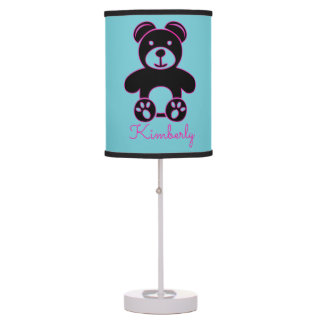 Bright Magenta Pink Bear with Name Blue Lamp