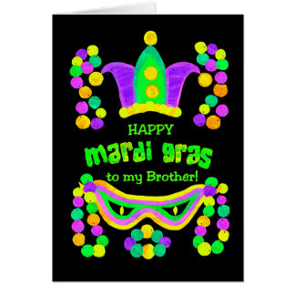 Bright Mardi Gras Card for a Brother on Black
