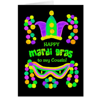 Bright Mardi Gras Card for a Cousin on Black