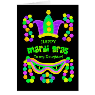 Bright Mardi Gras Card for a Daughter on Black
