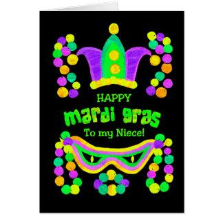 Bright Mardi Gras Card for Niece on Black