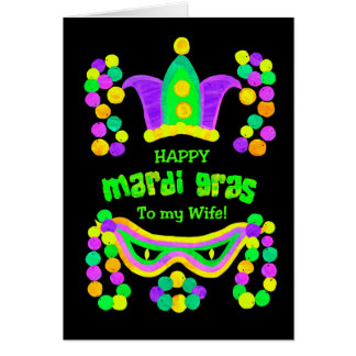 Bright Mardi Gras Card for Wife on Black