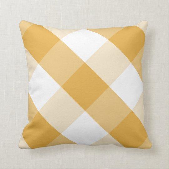 Bright Marigold & white reversible gingham plaid Throw Pillow