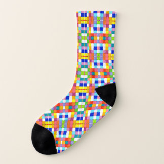 Bright Marker Colorful Multicolored Grid Pattern Socks