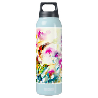 """Bright Meadow"" Hummingbird Print Insulated Water Bottle"