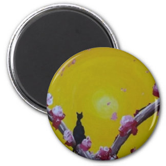 bright meow 2 inch round magnet