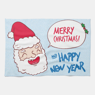 Bright merry santa claus laughing illustration kitchen towel