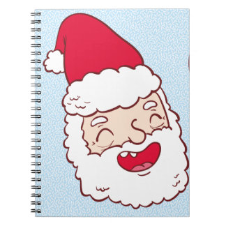 Bright merry santa claus laughing illustration spiral note book