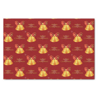 Bright Metallic Gold Bells Merry Christmas Tissue Paper