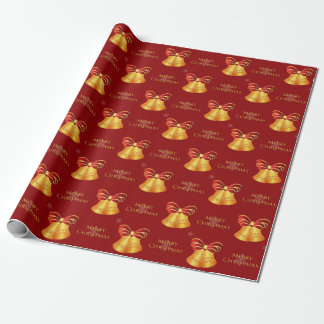 Bright Metallic Gold Bells Merry Christmas Wrapping Paper