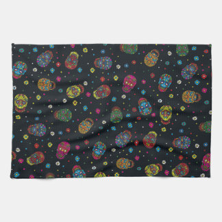 Bright mexican floral skull hand towel