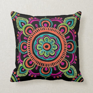 Bright Mexican lace design pillow