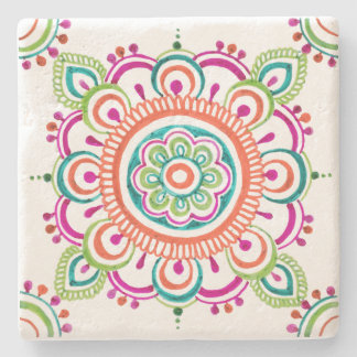 Bright Mexican lace floral design coaster