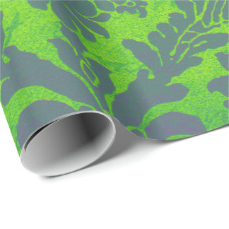 Bright Mint Green Purple Emerald Bamboo Damask Wrapping Paper
