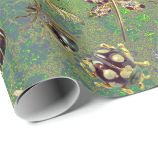 Bright Mint Green Purple Emerald Insects Meadow Wrapping Paper