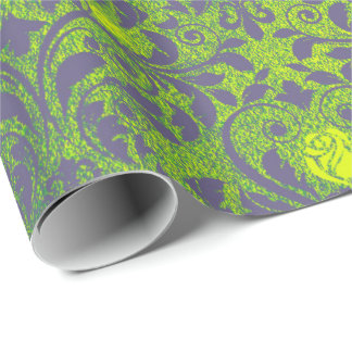 Bright Mint Green Purple Emerald Roses Damask Wrapping Paper